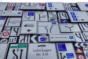Picture of many street signs